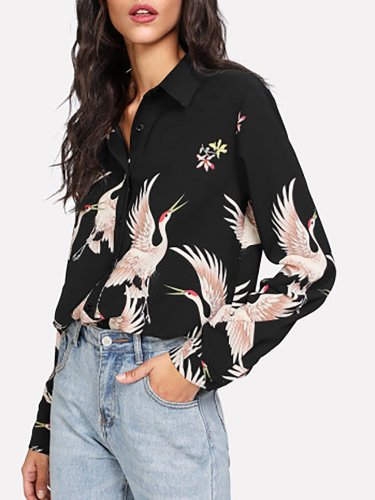New Black Shift Short Sleeve Printed Blouse
