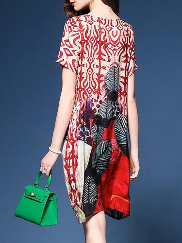 Shift Casual Printed Short Sleeve Mini Dress