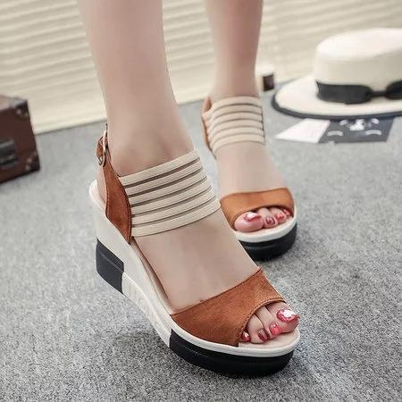 Casual Summer Suede Buckle Wedge Woman Heel Sandals