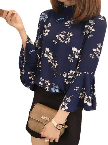 Black Chiffon Balloon Sleeve Blouses