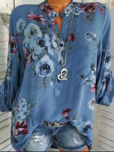 Autumn Spring Summer  Cotton  Women  V-Neck  Patch Pocket  Decorative Button  Floral Printed Blouses