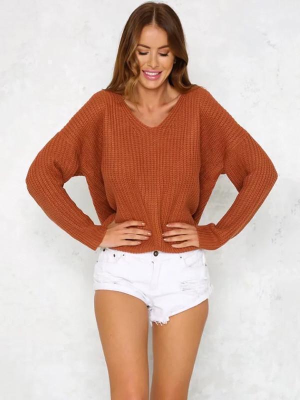 Fashion Solid Color V-neck Halterback Bandage Sweater Tops
