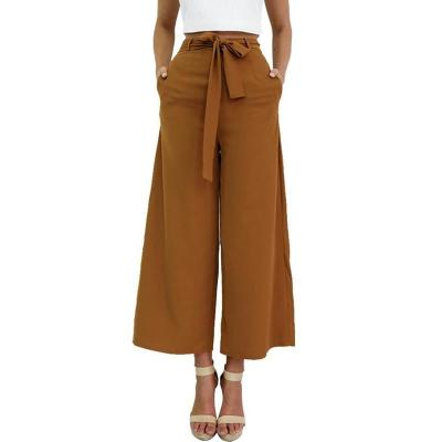 Vintage Loose Fit Bow Tie High Waisted Casual Ankle-Length Wide Leg Pants