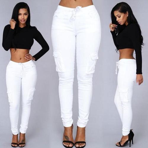 Drawstring Waist Pocket Design Skinny Long Cargo Pants
