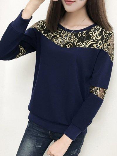 Round Neck  Decorative Lace  Hollow Out Sweatshirt