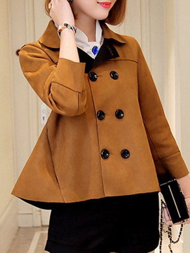 Doll Collar  Double Breasted  Plain  Three-Quarter Sleeve Jackets