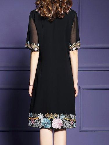 Elegant Short Sleeve Floral Midi Dress