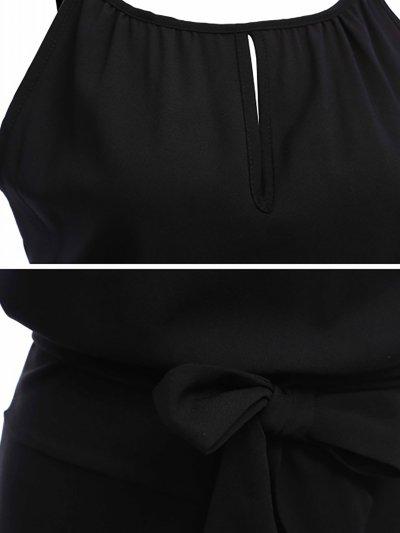 Black Crew Neck Solid Chiffon Casual Jumpsuit