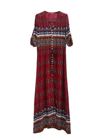 Holiday Tribal Printed 3/4 Sleeve V-neck Asymmetrical Dress
