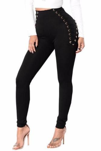 High Waist Lace Up Solid Black White Cross Bandage Pants