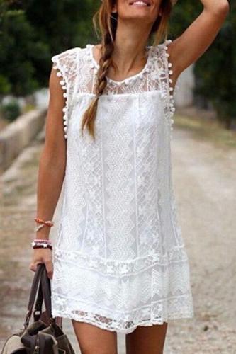 New Round Neck  Tassel  Lace Plain Casual Dresses