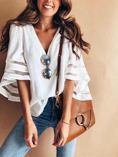 White Spandex Paneled Balloon Sleeve Woman V Neck T-Shirt
