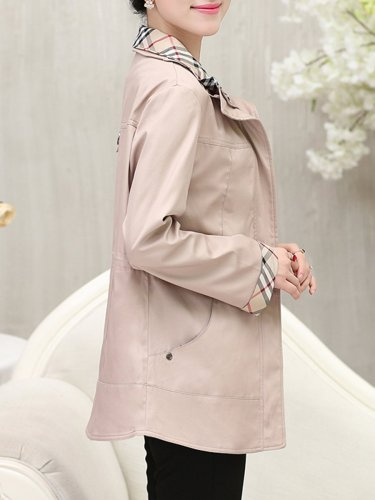 Fold-Over Collar  Zips  Plain  Long Sleeve Trench Coats