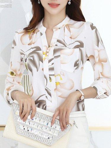 V-Neck  Decorative Button  Floral Blouses
