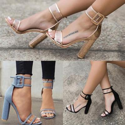 Clear Transparent Strappy Buckle Sandals High Heels Shoes