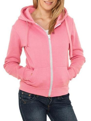 Womens Long-Sleeved V-Neck Zipper Casual Coat