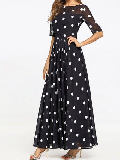 Fashion Round Neck  Ruffled Hem  Printed Maxi Dress