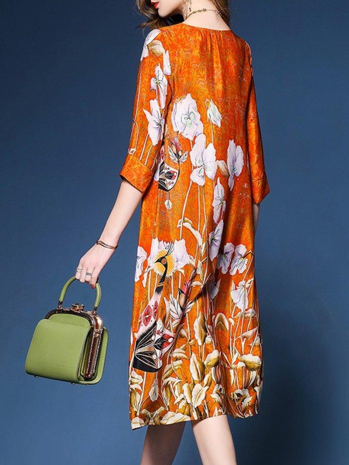 Orange Satin Floral Elegant Asymmetrical Plus Size Dress