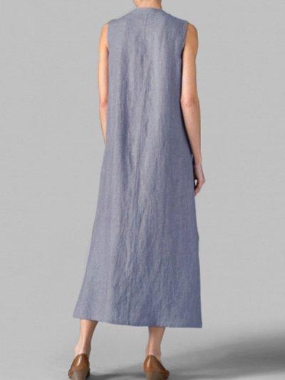 Woman Asymmetric Neck  Decorative Buttons  Plain Maxi Dress