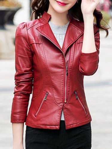 Lapel Zips Plain PU Leather Biker Jacket