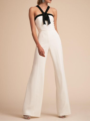 White Sexy Color-block Jumpsuit
