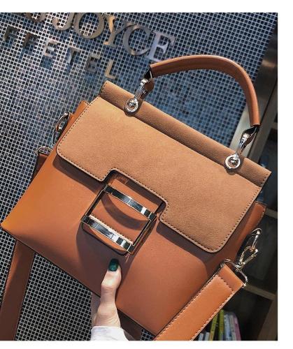 Buckle PU Leather Shoulder Woman Handbags