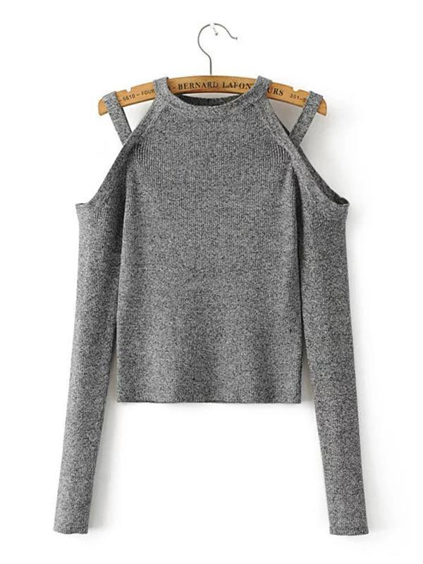 Knitting Round-neck Sweater Tops