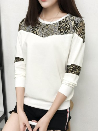 Round Neck  Decorative Lace  Hollow Out Sweatshirt