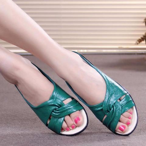Open Toe Genuine Leather Wedge Sandal