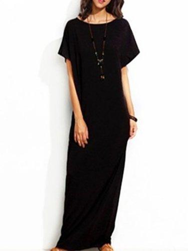 Plus Size Crew Neck Dress Daily Short Sleeve Casual Maxi Dress