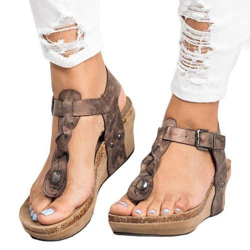 Large Size Adjustable Buckle Wedge Sandals
