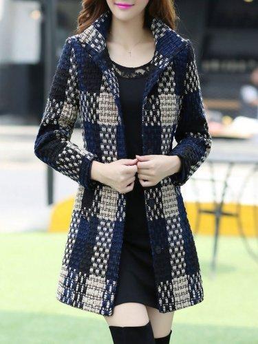 New High Neck Pocket Longline Woolen Coat