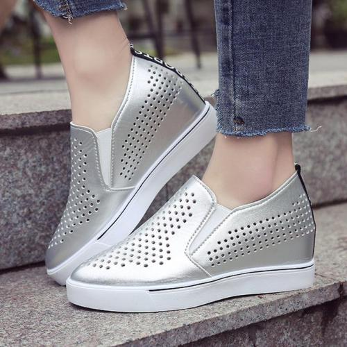Women PU Loafers Casual Comfort Hollow Out Shoes