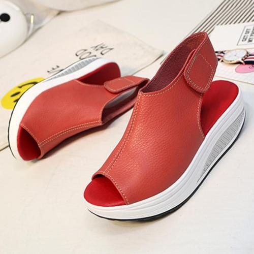 Casual Microfiber Leather Wedge Heel Magic Tape Sandals