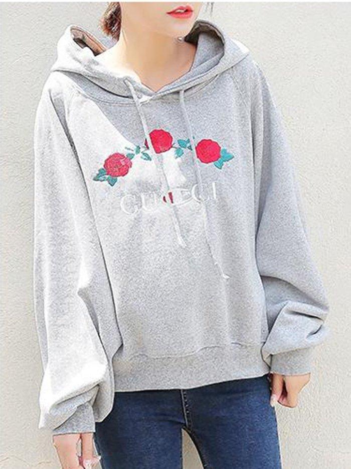 Floral Plain  Raglan Sleeve  Long Sleeve Hoodies