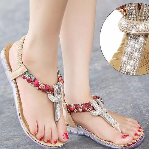Exquisite Diamond Bohemian National Rhinestone Fashion Sandals