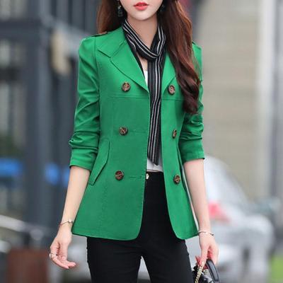 Slim Double-Breasted Solid Color Windbreaker Coat