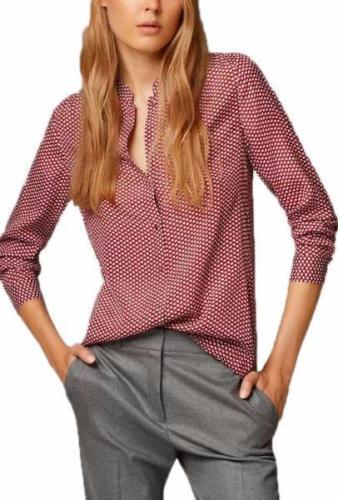 Chiffon Button Down Blouse Long Sleeve V-Neck Printed Lady Shirts