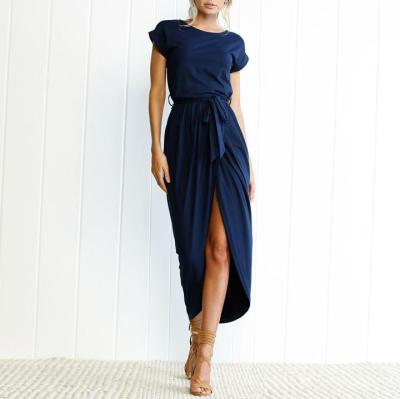 New Elegant Round Collar Pure Color Irregular Work Dress