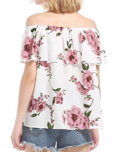 White Ruffled Chiffon Short Sleeve Floral Blouses