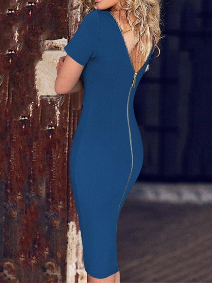 Fashion Round Neck  Plain Bodycon Dress