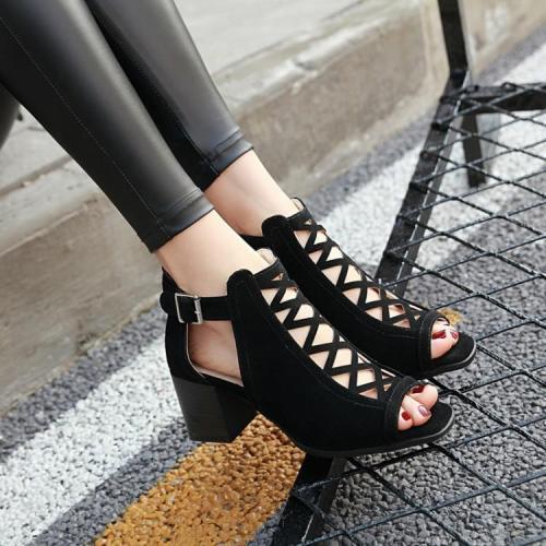 Platform Open Toe Ankle Strap Zipper Back High Heel Woman Sandals