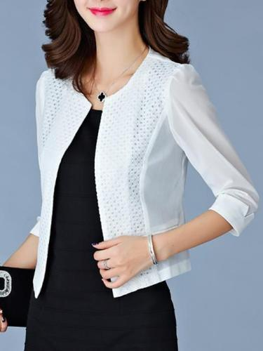 Elegant Pure Color Round Collar 3/4 Sleeve Slim Blazer