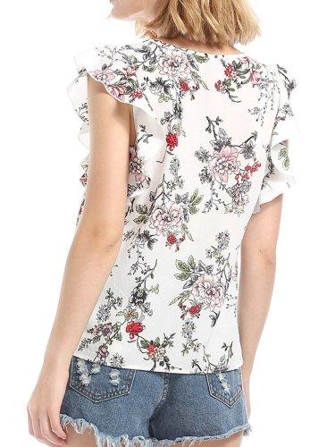 White Ruffled Floral Ptinted V-neck Blouses