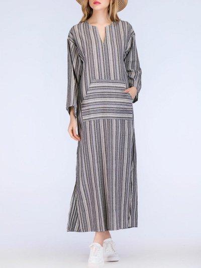 Plus Size V-Neck Dress Shift Daily Linen Pockets Maxi Dress