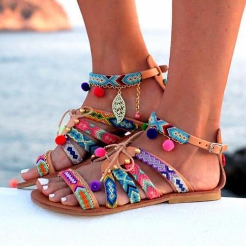 Plus Size  Bohemian Multicolor Buckle Sandals