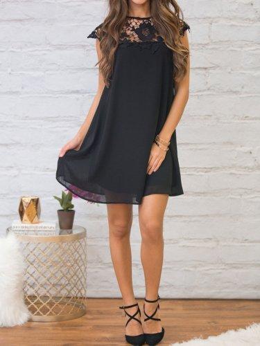 Round Neck  Decorative Lace  Plain  Dress