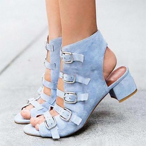 Women PU Pumps Sandals Casual Comfort Adjustable Buckle Boots