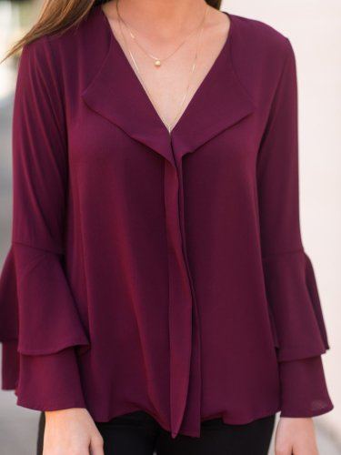 Burgundy Casual Polyester Solid Ruffled Blouses &