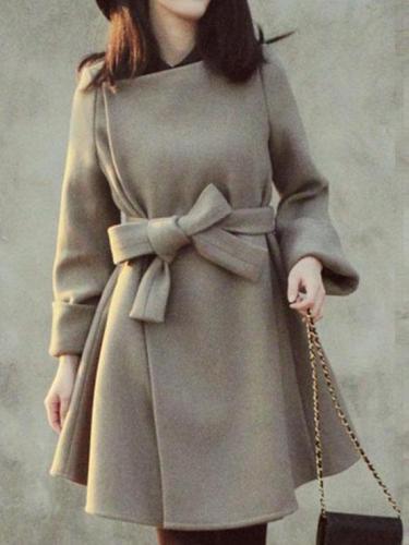 Elegant Bowknot Slim Woolen Coat Outerwear